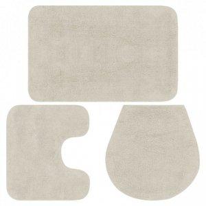3-częściowy zestaw mat łazienkowych, tkanina, biały