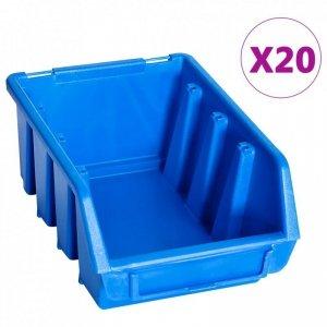 Pojemniki sztaplowane, 20 szt., niebieskie, plastikowe