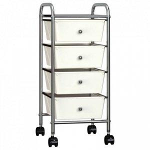 Wózek z 4 szufladami, biały, plastikowy