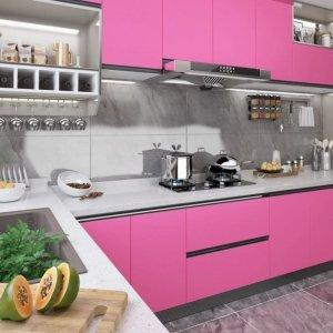 Okleina meblowa, różowa, wysoki połysk, 500x90 cm, PVC