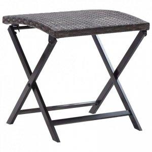 Składany stołek, rattan PE, brąz