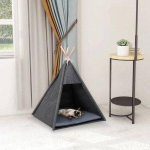 Namiot tipi dla kota, z torbą, filcowy, czarny, 60x60x70 cm
