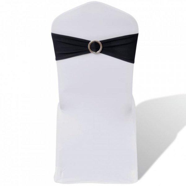 25 czarnych, dekoracyjnych pasów na krzesła z diamentową klamrą