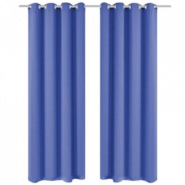 Zasłona zaciemniająca z kółkami, 270 x 245 cm, niebieska