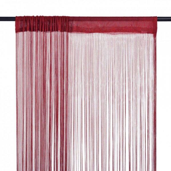 Zasłony sznurkowe, 2 sztuki, 100 x 250 cm, burgundowe
