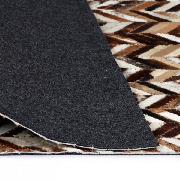 Dywan ze skóry, patchwork w jodełkę, 80x150 cm, brązowo-biały