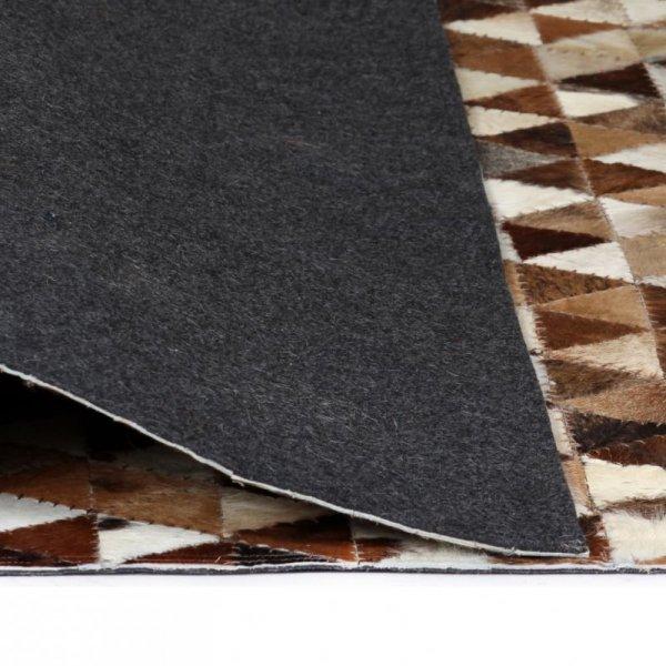 Dywan patchwork z trójkątów, skóra, 160x230 cm, brązowo-biały