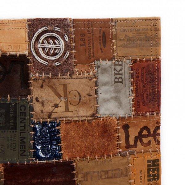 Dywan patchworkowy z naszywek skórzanych, 160x230 cm, brązowy