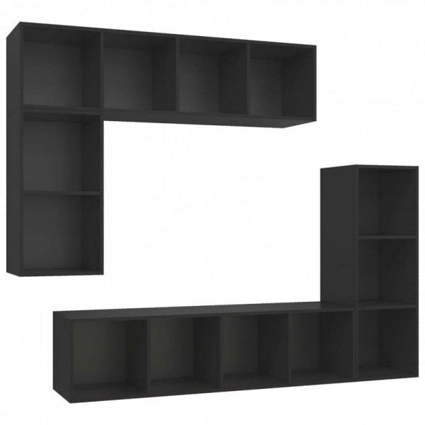 4-częściowy zestaw szafek TV, czarny, płyta wiórowa