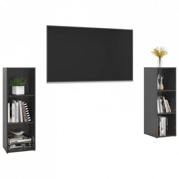 Szafki TV, 2 szt., szare na wysoki połysk, 107x35x37 cm, płyta