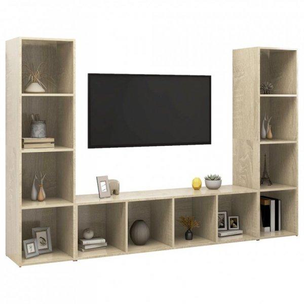 Szafki TV, 3 szt., dąb sonoma, 142,5x35x36,5 cm, płyta wiórowa