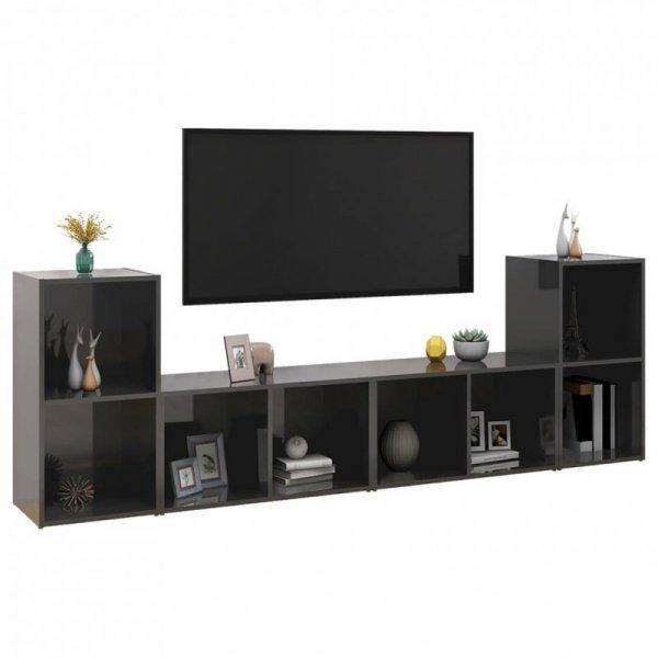 Szafki TV, 4 szt., szare, wysoki połysk, 72x35x36,5 cm, płyta