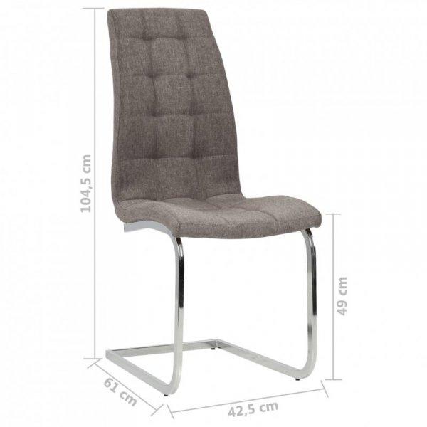 Wspornikowe krzesła stołowe, 4 szt., kolor taupe, obite tkaniną