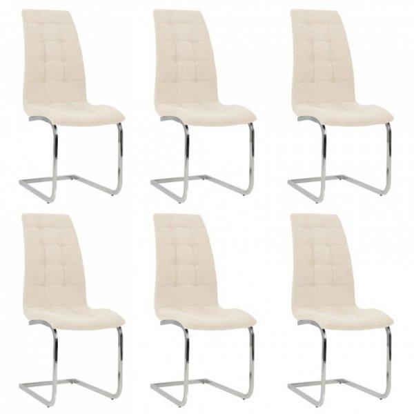 Wspornikowe krzesła stołowe, 6 szt., kremowe, obite tkaniną