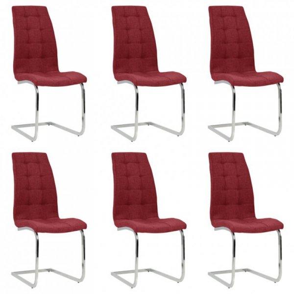 Wspornikowe krzesła stołowe, 6 szt., winna czerwień, tkanina