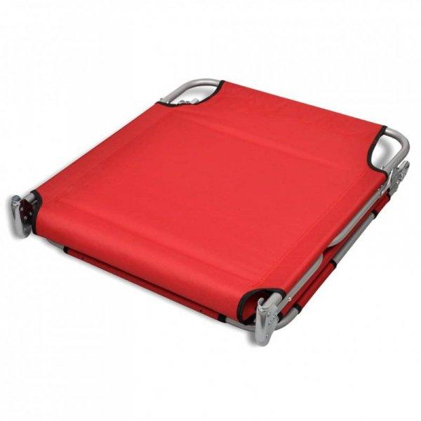 Składany leżak z podgłówkiem, malowana stal, czerwony