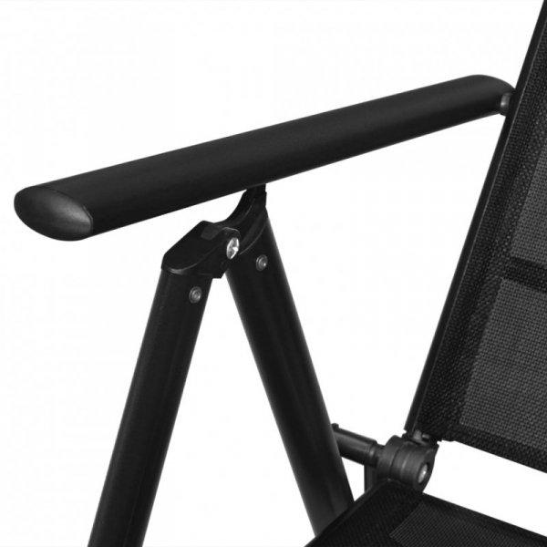 Składane krzesła ogrodowe, 4 szt., aluminium/textilene, czarne