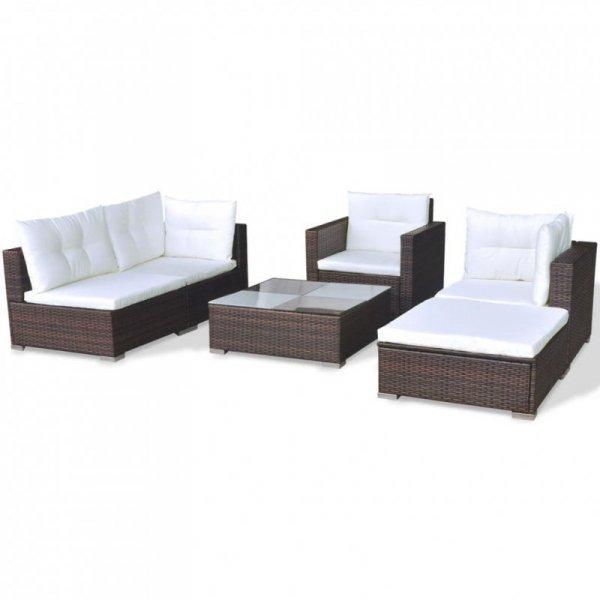 6-cz. zestaw wypoczynkowy do ogrodu, poduszki, rattan PE, brąz