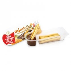 Krem z czekoladą, orzechami i miodem i paluszki chlebowe Miodelka, 25g