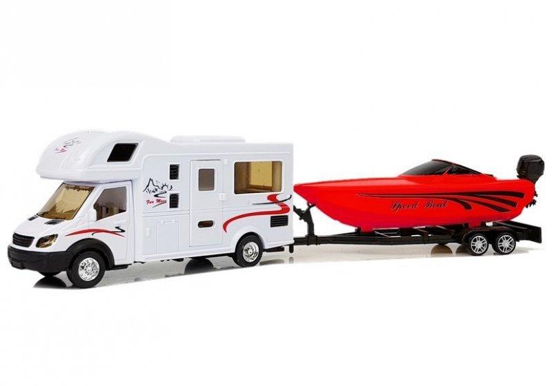 Camper z Czerwoną Motorówką i Napędem Frykcyjnym 1:48