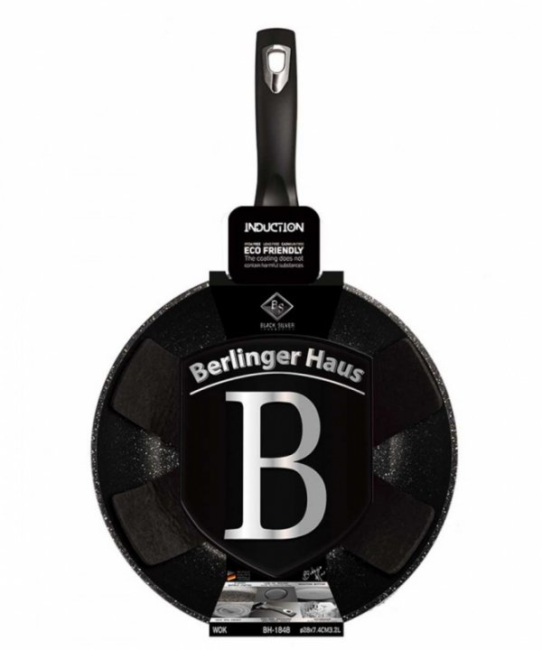 WOK GRANITOWY 28cm BERLINGERHAUS BLACK SILVER BH-1848