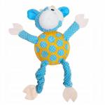YARRO Zabawka pluszowa dla psa - niebieska krowa piszcząca z gumową siatką 35cm [Y0007]