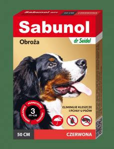 SABUNOL GPI obroża czerwona przeciw pchłom i kleszczom dla psów 50 cm