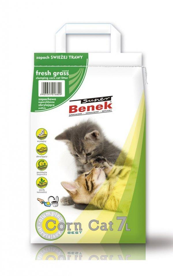SUPER BENEK Corn Cat Świeża Trawa 7l