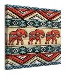 Tribal Elephants - obraz na płótnie