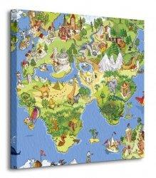 Mapa Świata dla Dziecka - Obraz na płótnie