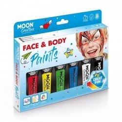 Zestaw farb do twarzy i ciała 6x12ml gąbka i pędzelek