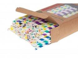 Słomki RURKI papierowe 200szt kolorowe 20cm 5mm