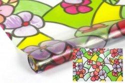 Statyczna folia okienna Witraż 45x150 Kolorowe Kwiaty