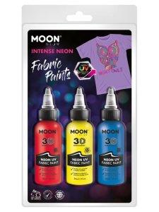 Zestaw farb do tkanin 3x30ml Neon UV red
