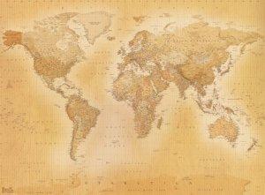 Mapa świata - Styl Vintage - fototapeta