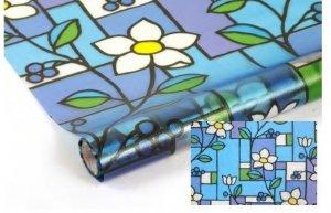 Statyczna folia okienna Witraż 90x150 Niebieskie Kwiaty