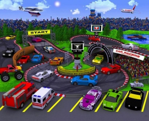 Tapeta 3D Zawody Samochodowe Cars