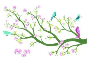 Naklejki Kwitnące Drzewo Wiśniowe 3D Djeco