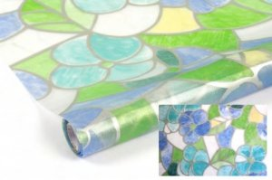Statyczna folia okienna Witraż 45x150 Zielone Kwiaty