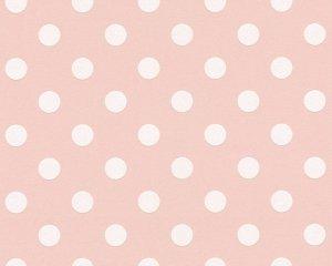 Tapeta różowa w białe kropki grochy 36934-3 winylowa na flizelinie