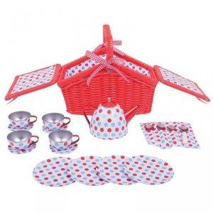 Czerwony serwis do herbatki piknikowy w koszyku