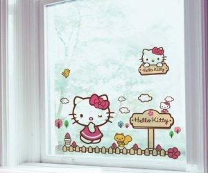 Statyczne naklejki na okno Hello Kitty