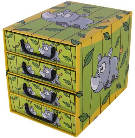 Pudełko SAWANNA 4 szufladki pionowe Nosorożec