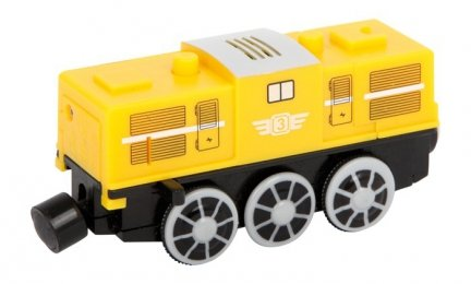 Żółta lokomotywa elektryczna na baterie