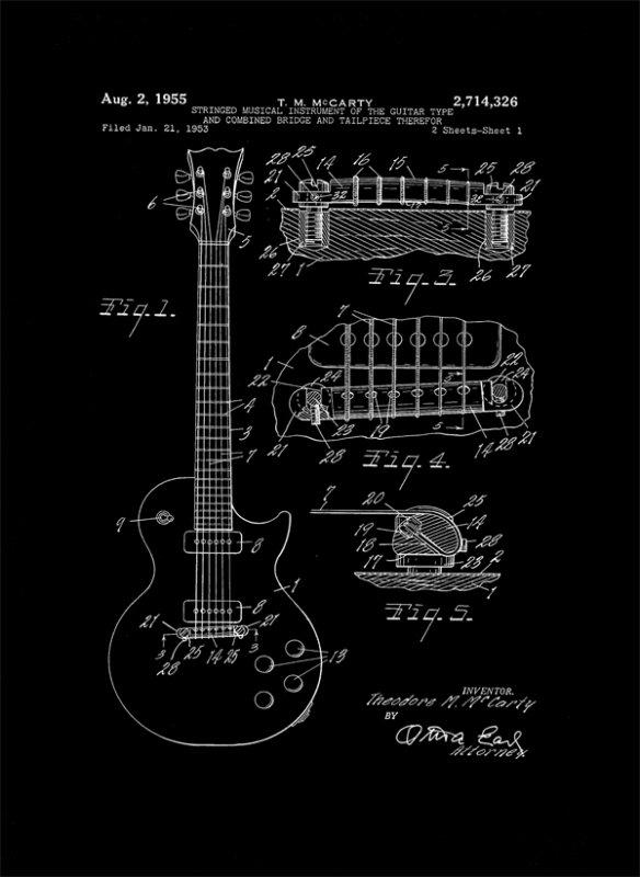 Gitara Elektryczna Projekt 1955  - retro plakat