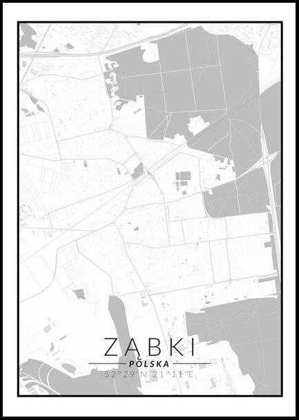 Ząbki mapa czarno biała - plakat