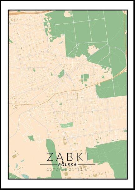 Ząbki mapa kolorowa - plakat