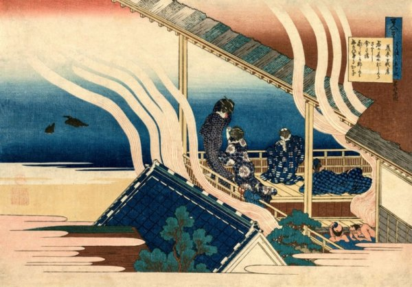 Hokusai, Poem by Fujiwara no Yoshitaka - plakat