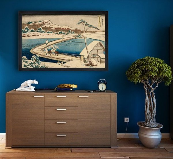 Hokusai, An Ancient Picture of the Boat Bridge at Sano in Kozuke Province - plakat