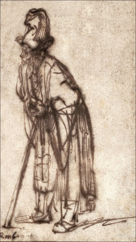 Old Man Leaning on a Stick, Rembrandt - plakat